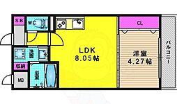リバーサイド桂 壱番館 3階1LDKの間取り