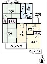 サントピア天道B[2階]の間取り
