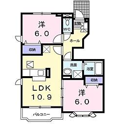 愛知県西尾市吉良町富好新田上川並の賃貸アパートの間取り