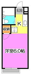 東京都練馬区東大泉4丁目の賃貸アパートの間取り