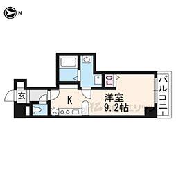 アンシアン六角堺町 4階ワンルームの間取り