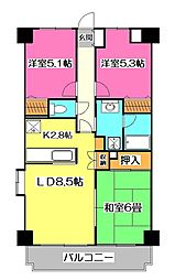 むさしのサンケイマンション[1階]の間取り