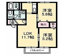 徳島県徳島市中昭和町5丁目の賃貸アパートの間取り