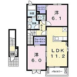 ベルフルールB[2階]の間取り