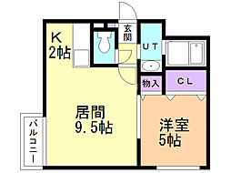 ル・ファール南6条 ウエスト 3階1LDKの間取り