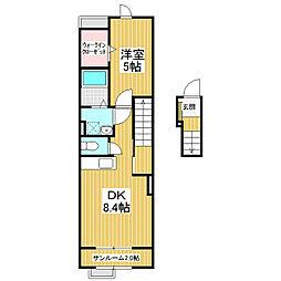 JR信越本線 長野駅 バス20分 松岡宮前下車 徒歩1分の賃貸アパート 2階1DKの間取り