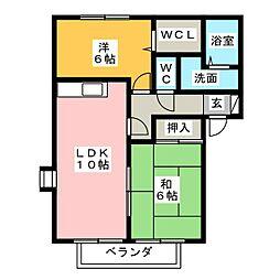 クレストコート A[2階]の間取り