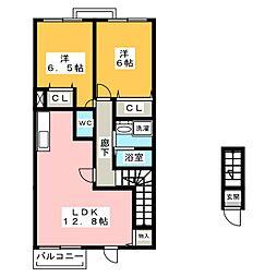 シンフォニア・ガーデン丸米Ⅱ[2階]の間取り