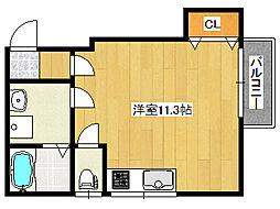 城の下通3丁目アパート 1階ワンルームの間取り
