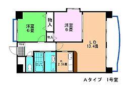 愛知県刈谷市新富町3丁目の賃貸マンションの間取り