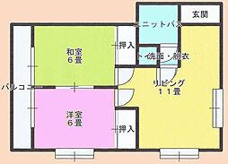 成東ハイツ[3階]の間取り