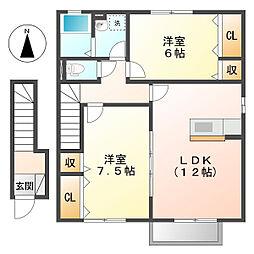 岡山県倉敷市東塚3の賃貸アパートの間取り