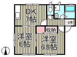 鎌倉ハウス弐番館[1階]の間取り