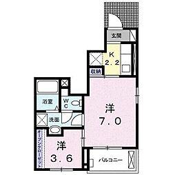 埼玉県東松山市御茶山町の賃貸アパートの間取り
