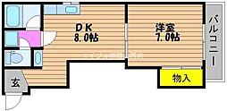 岡山県岡山市北区丸の内1丁目の賃貸マンションの間取り