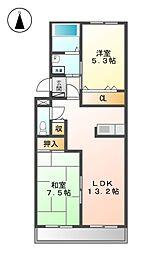 ウイング富士A棟[1階]の間取り