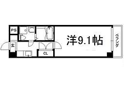 アートプラザ京田辺2 2階1Kの間取り