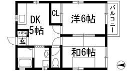 兵庫県西宮市門戸西町の賃貸アパートの間取り