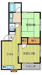 埼玉県ふじみ野市福岡武蔵野の賃貸アパートの間取り