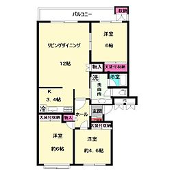 中野島第2住宅[4階]の間取り