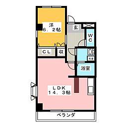愛知県名古屋市守山区川村町の賃貸マンションの間取り
