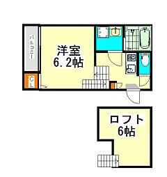 JR関西本線 八田駅 徒歩5分の賃貸アパート 2階1SKの間取り
