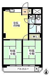 南浦和クイーンコーポD棟[6階]の間取り