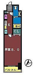 ライジングプレイス船橋宮本[206号室]の間取り