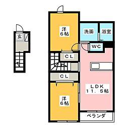 クラージュD[2階]の間取り