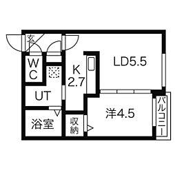 北海道札幌市北区北十四条西2丁目の賃貸マンションの間取り