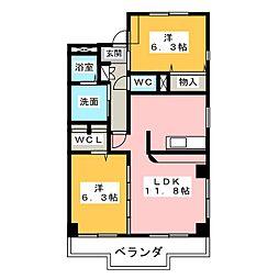 愛知県名古屋市中川区戸田西1の賃貸マンションの間取り