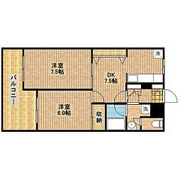 タウンハウス坂田III[202号室]の間取り