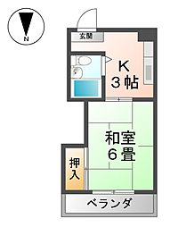 愛知県稲沢市松下2丁目の賃貸マンションの間取り