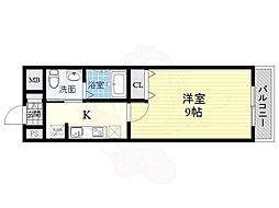 リアライズ住之江公園 5階1Kの間取り