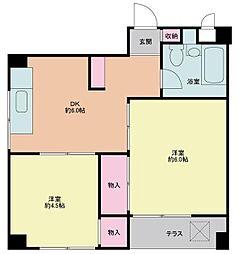 東京都調布市布田3丁目の賃貸マンションの間取り