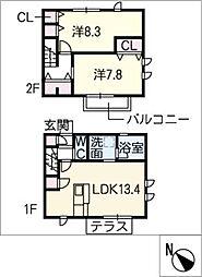 [タウンハウス] 愛知県長久手市城屋敷 の賃貸【/】の間取り