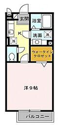 東京都八王子市上柚木の賃貸アパートの間取り