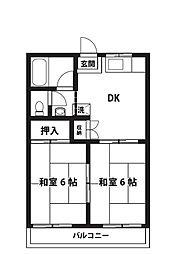 竹ノ花ハイツ[203号室]の間取り