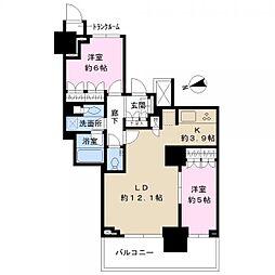 津田沼 ザ・タワー 22階2LDKの間取り