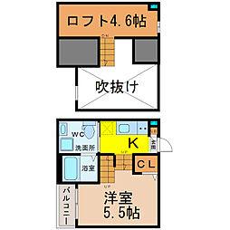 愛知県名古屋市中村区角割町2丁目の賃貸アパートの間取り