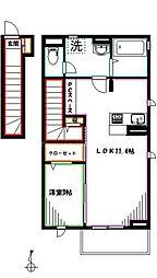 JR中央本線 三鷹駅 徒歩7分の賃貸アパート 2階1LDKの間取り