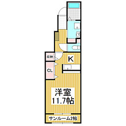 JR篠ノ井線 塩尻駅 バス10分 都市大塩尻高校前下車 徒歩26分の賃貸アパート 1階1Kの間取り