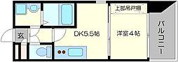 エスプレッソナンバII 4階1DKの間取り