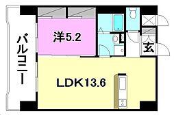 スカイタワー勝山[702 号室号室]の間取り