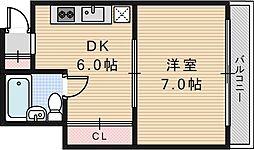 桃井マンション[401号室]の間取り