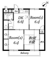 ハイツ新井III[203号室]の間取り
