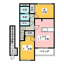 ルビコン ドゥーエ[2階]の間取り