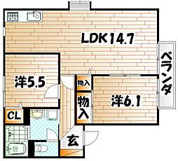 サンヴィレッジKA棟[2階]の間取り