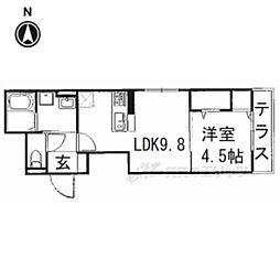 (仮称)ネオクリエイト勝竜寺 1階1DKの間取り