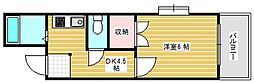 ラパンジール恵美須III[3階]の間取り